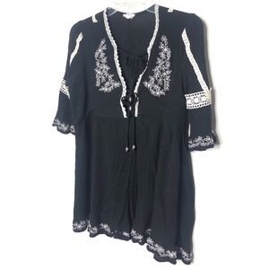 POL black tunic with cream embroidery Size S